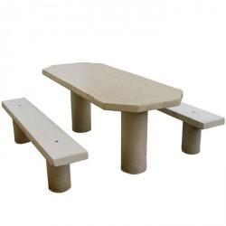 Table de pique-nique ovale en béton
