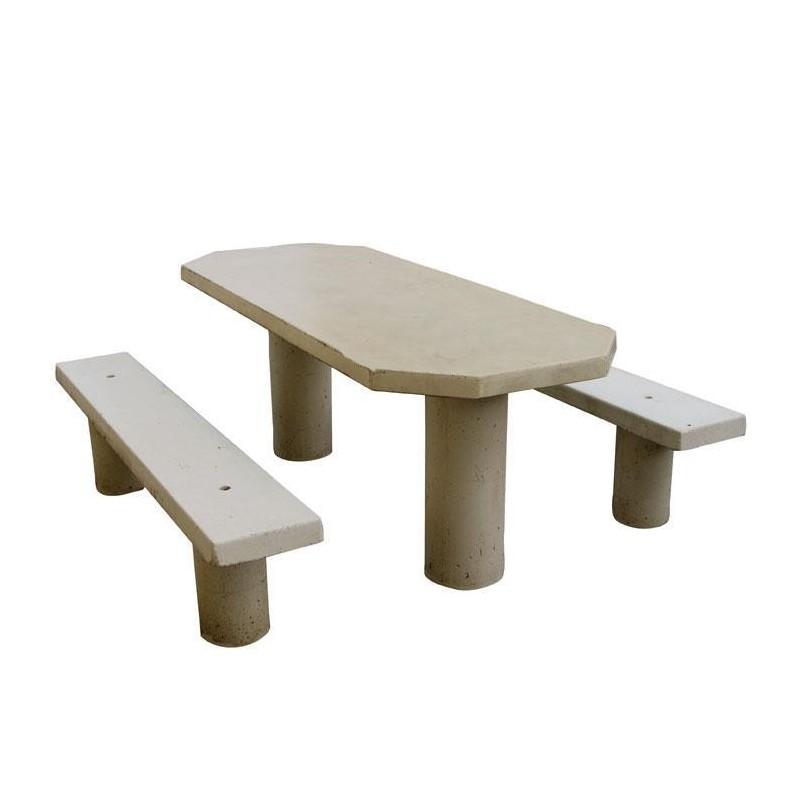 table de pique nique ovale en b ton arm pour pmr. Black Bedroom Furniture Sets. Home Design Ideas