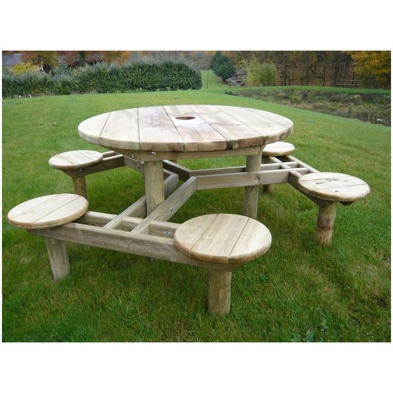 table de pique nique ronde forest table de pique nique en pin autoclave. Black Bedroom Furniture Sets. Home Design Ideas