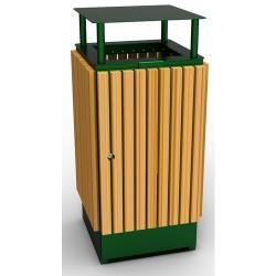 Visuel de la poubelle publique en métal et bois