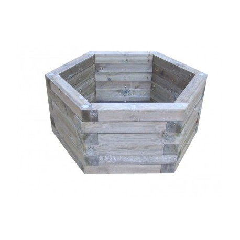 Visuel de la jardinière de rue en bois hexagonale