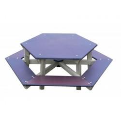 Table de pique-nique en bois pour enfant hexagonale