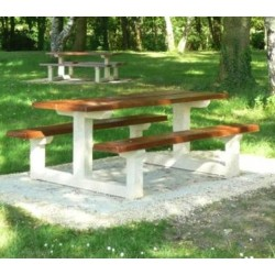 Table pique-nique en béton aspect bois