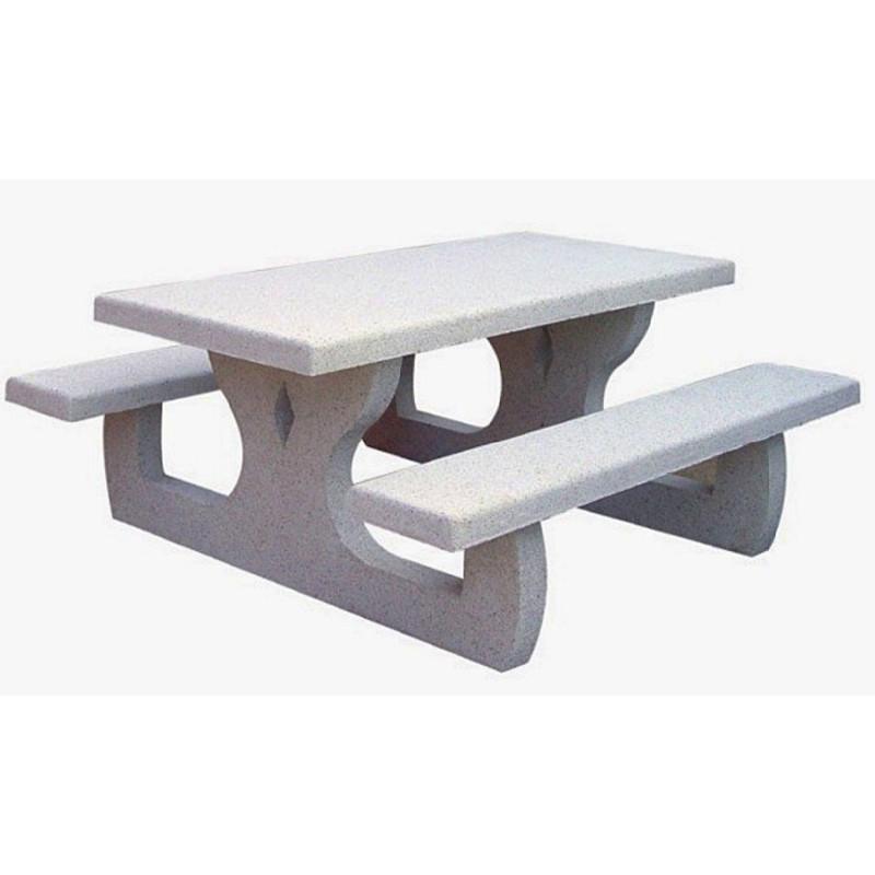 Table pique nique rectangulaire en béton armé