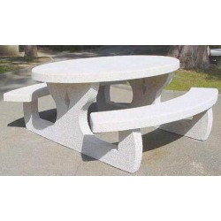 Table pique nique ovale en béton armé Languedoc