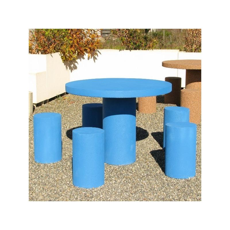 Table de pique nique ronde en béton avec tabourets