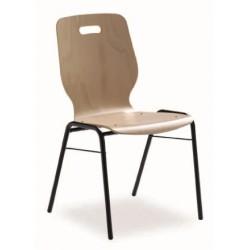 Chaise empilable avec coque en bois