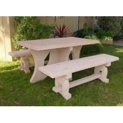 Ensemble table et banc en béton Caroli