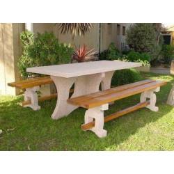 Ensemble table pique nique en béton/bois avec banquettes Leonis