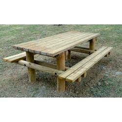 Table pique nique en en bois à sceller