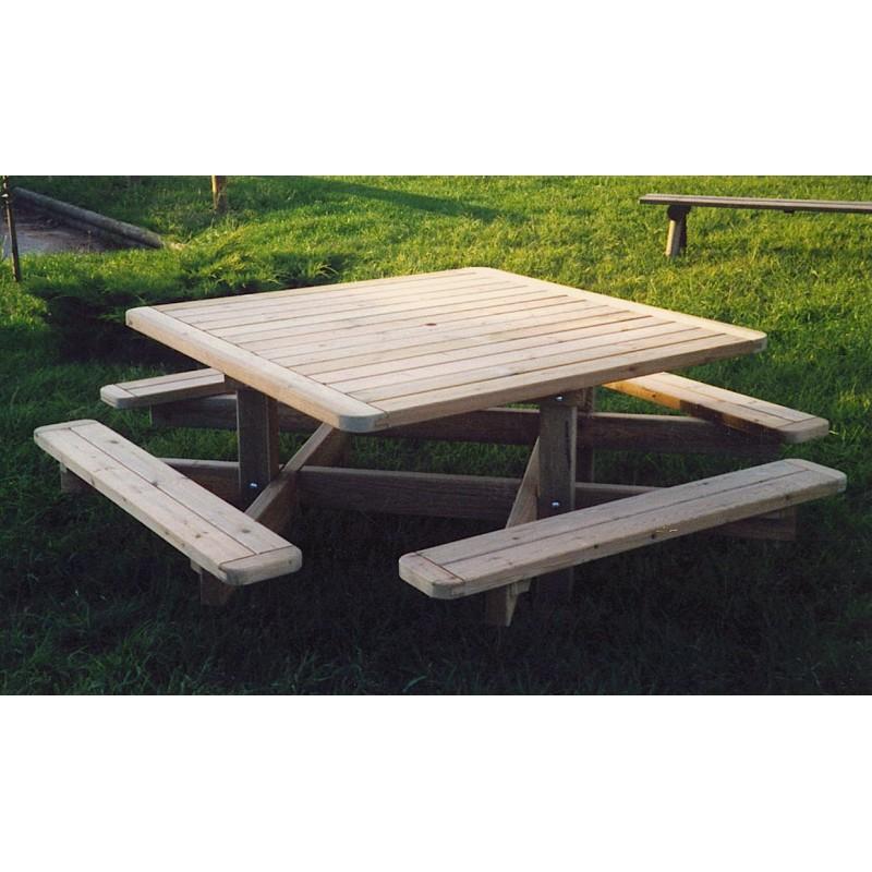 table de pique nique de collectivit carr e table de pique nique de collectivit en bois. Black Bedroom Furniture Sets. Home Design Ideas
