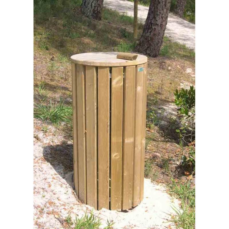 Visuel de la poubelle publique en bois Hanovre