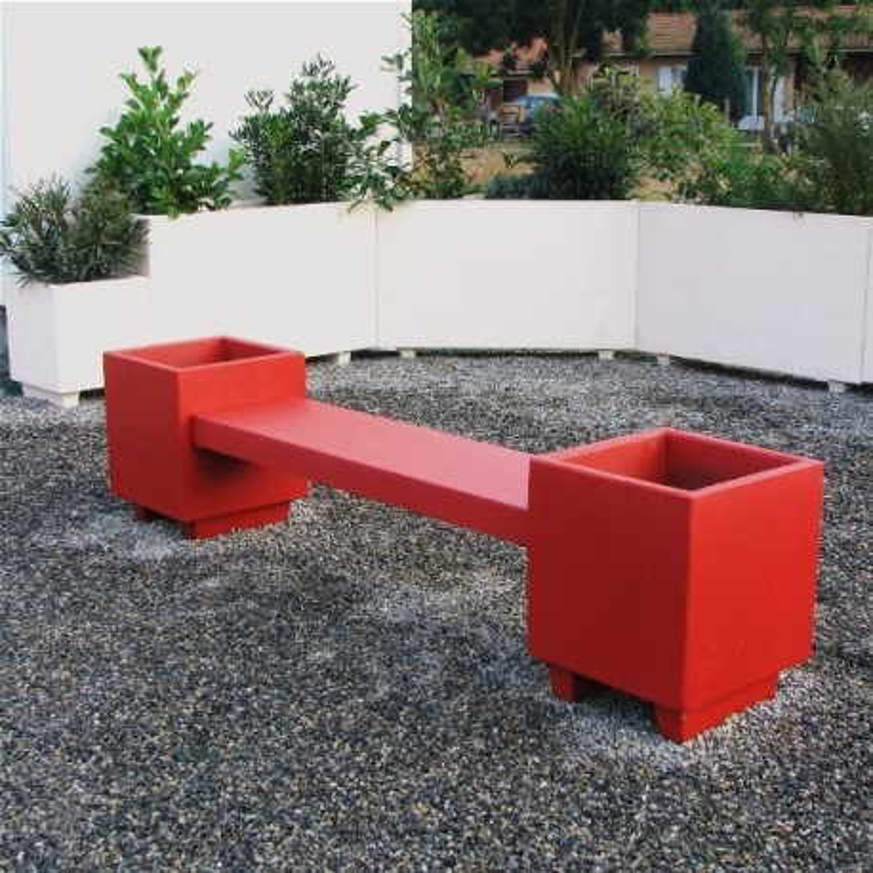 Banquette jardinière en béton - piétement et lame d'assise couleur rouge - DMC Direct