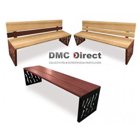 mobilier urbain bois m tal banc public bois et acier dmc direct. Black Bedroom Furniture Sets. Home Design Ideas