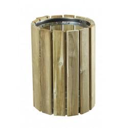 Corbeille de propreté extérieur en bois ronde 20 litres
