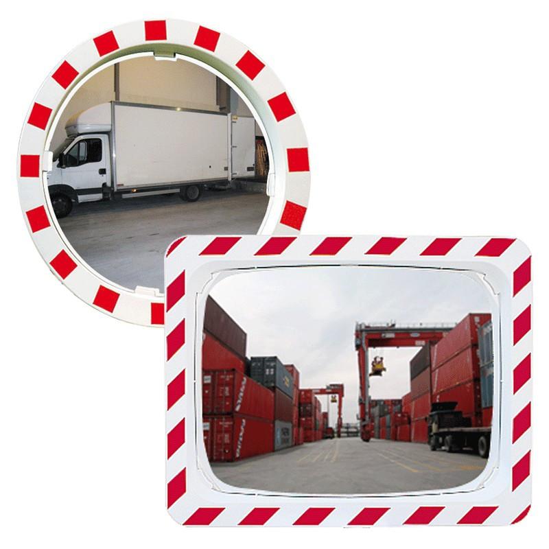 Visuel du miroir routier rouge et blanc