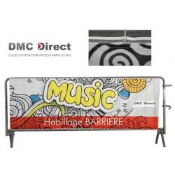 Habillage Simple face avec ruflette pour barrière de foule - DMC Direct