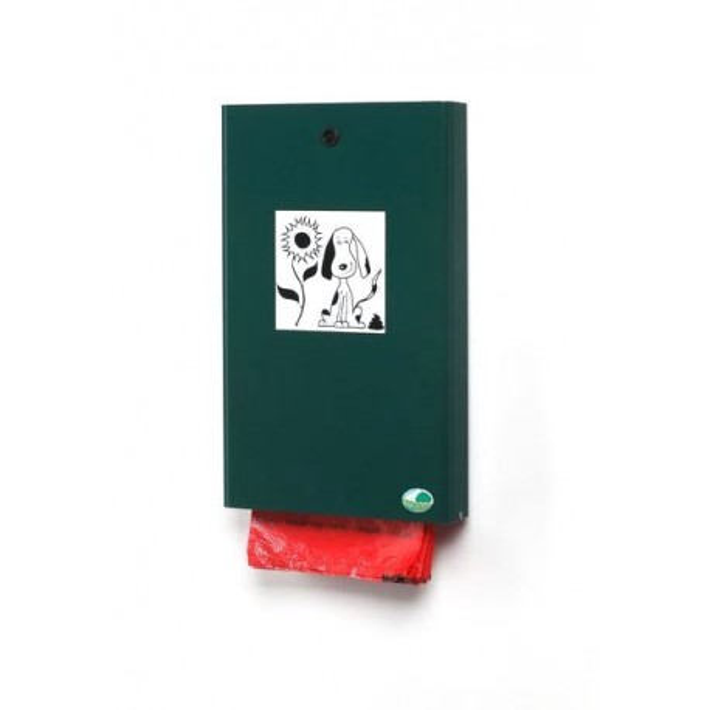 Distributeur pour liasse de sacs ramasse déjections canines - vert mousse RAL 6005 - DMC Direct