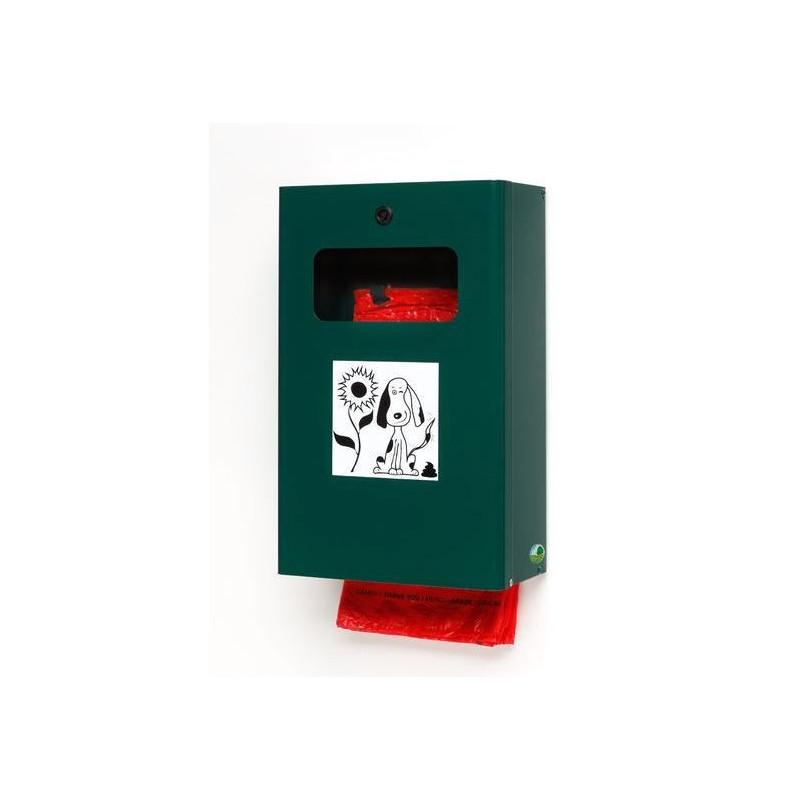 Corbeille distributeur 2 en 1 de sacs à déjections canines - vert mousse - DMC Direct