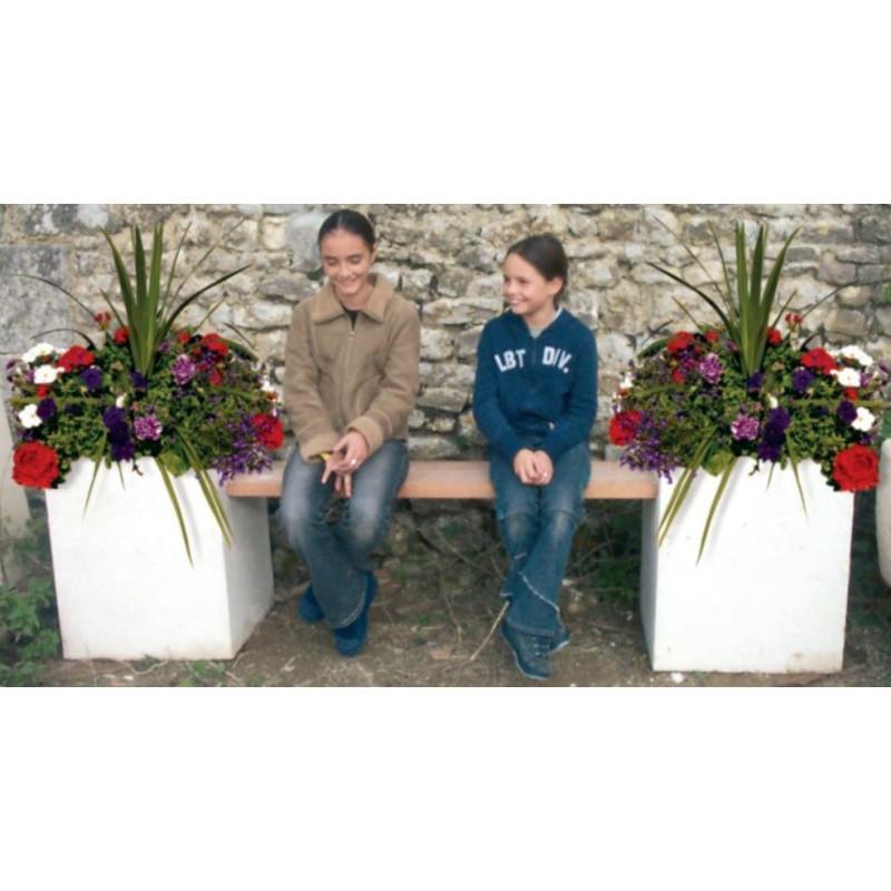 Visuel de la banquette jardinières double en pierre reconstituée - DMC Direct