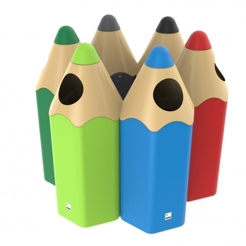 Visuel de la Poubelle ludique crayon en polyéthylène - DMC Direct