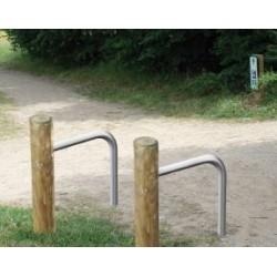 Support vélo rondin de bois et arceau
