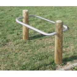 Support vélo 2 rondins de bois et arceaux