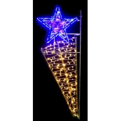 Visuel du décor structure bambou Étoile flambeau lumineuse pour lampadaire - version nuit - DMC Direct