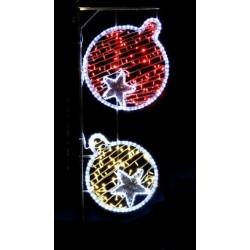 Décor pour poteau duo de boules lumineuses