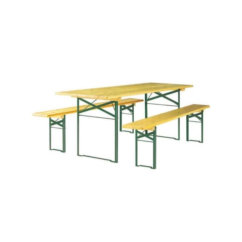 table et bancs en bois pragues table pliante avec bancs pour salle des f tes. Black Bedroom Furniture Sets. Home Design Ideas