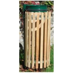 Support de sac poubelle avec entourage bois