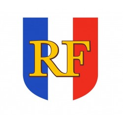 Écusson Tricolore RF porte drapeaux châssis en alu