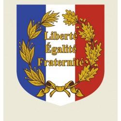 Écusson porte drapeaux châssis alu Palmes et Liberté Egalité Fraternité