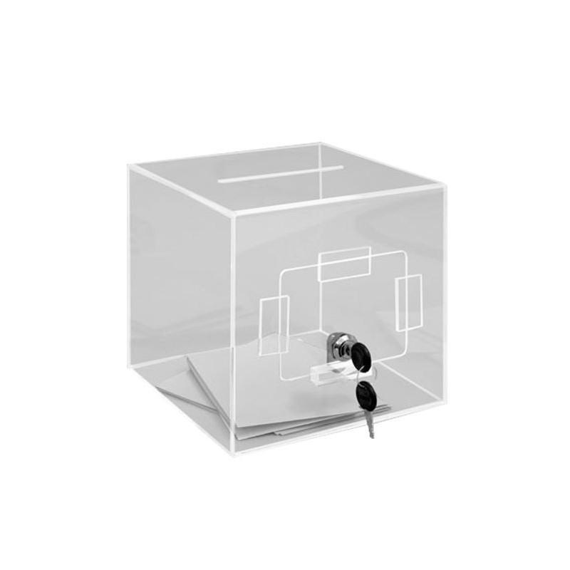 Urne de comptoir en plexi transparent - 20 x 20 x 20 cm - 400 bulletins - DMC Direct