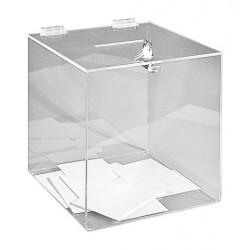 Visuel de l'urne transparente sécurisée de comptoir - 500 bulletins - 25x25x25 cm - DMC Direct