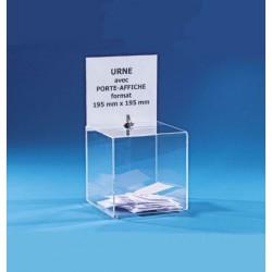Urne plexi sécurisée de comptoir avec porte-affiche - 400 bulletins - 38 x 20 x 20 cm - DMC Direct