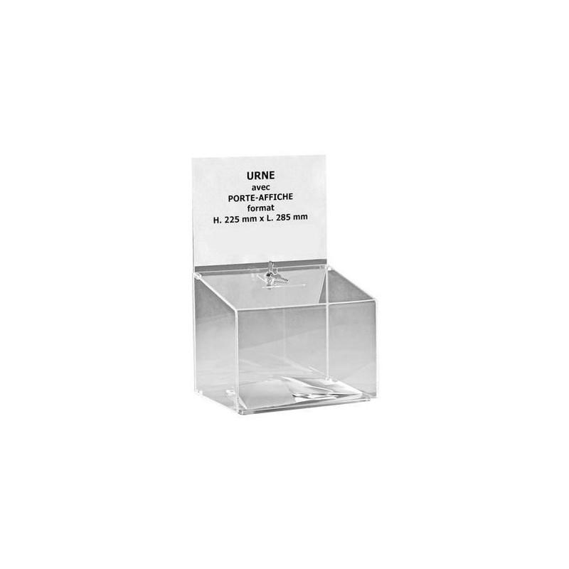 Urne avec porte-affiche en plexi sécurisée - 500 bulletins - 25 x 29 x 22 cm - DMC Direct