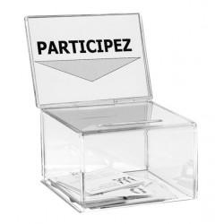 Petite urne de comptoir avec porte-affiche en plexi - 200 bulletins