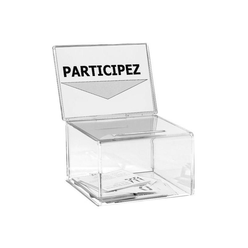 Petite urne de comptoir avec porte-affiche en plexi - 200 bulletins - 9 x 16 x 11 cm - DMC Direct