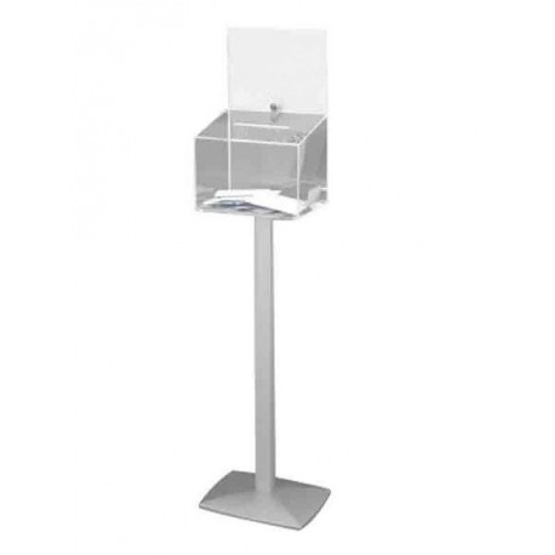 Urne avec porte-affiche en plexi sécurisée 500 bulletins sur pied - DMC Direct