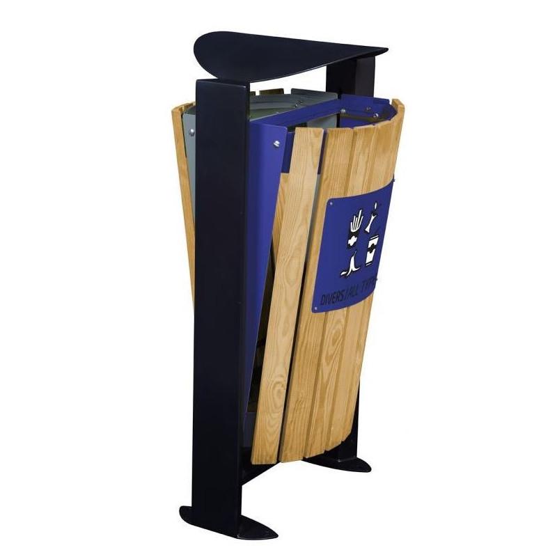 Corbeille de rue façade bois sur pied bi-flux Arkea - Gris ciment + Bleu outremer pour tri sélectif - DMC Direct