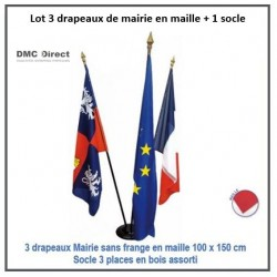 Lot de 3 drapeaux de mairie en maille 100 x 150 cm - DMC Direct