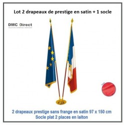 Lot de 2 drapeaux de prestige en satin 97 x 150 cm - DMC Direct