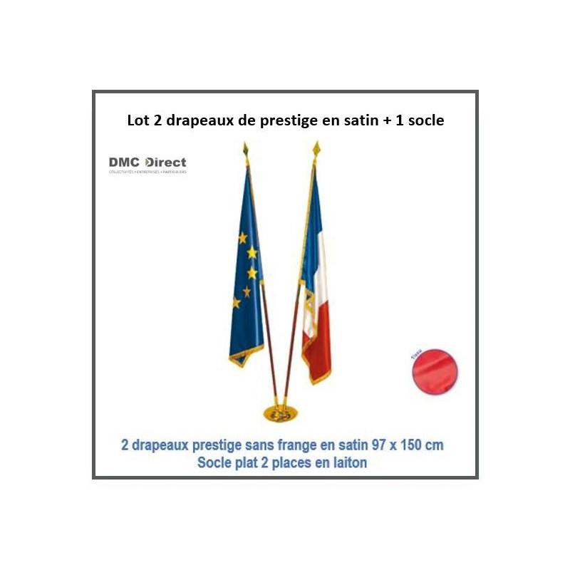 Lot de 2 drapeaux de prestige en satin 97 x 150 cm - DMC Direct
