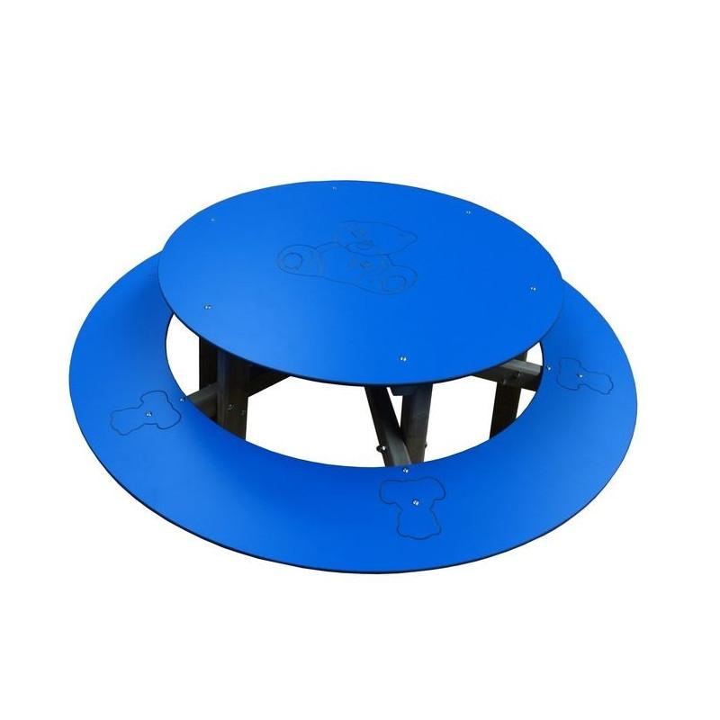 Visuel de la table de pique-nique enfant ronde en compact et bois - DMC Direct