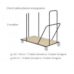 Chariot de transport pour tables rectangulaires pliantes