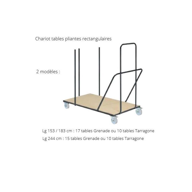 Chariot de transport pour tables rectangulaires pliantes - DMC Direct