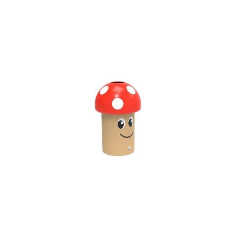 Corbeille ludique champignon en polyéthylène rouge - DMC Direct