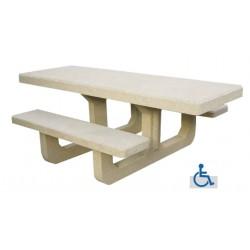 Table de jardin PMR en béton Corail