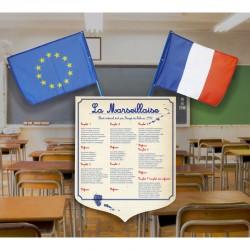 1 écusson + 2 drapeaux pour école primaire LOT LOI PEILLON